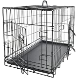 """OxGord 30"""" Large Dog Crate, Double-Doors Folding Metal w/ Divider & Tray 