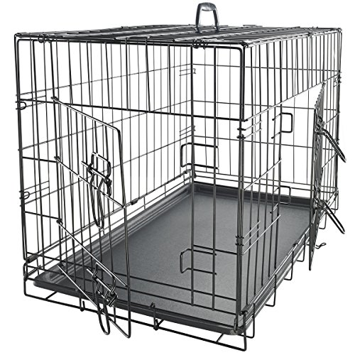 OxGord 24-Inch Folding Metal Pet Crate with Double-Door and Divider 61eV6l7FOAL
