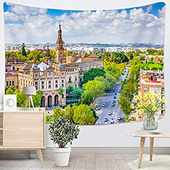 Sgvsdg Tapestry Seville Spain Cityscape Plaza De Espana Home Decoration Wall 60X80 Inches Can Be Hung in The Dormitory Living Room Bedroom