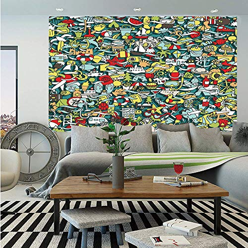Doodle Huge Photo Wall Mural,Simple Mini Drawings of Holiday Related Concepts Caravan Compass Lifebuoy Breakfast Decorative,Self-adhesive Large Wallpaper for Home Decor 100x144 inches,Multicolor