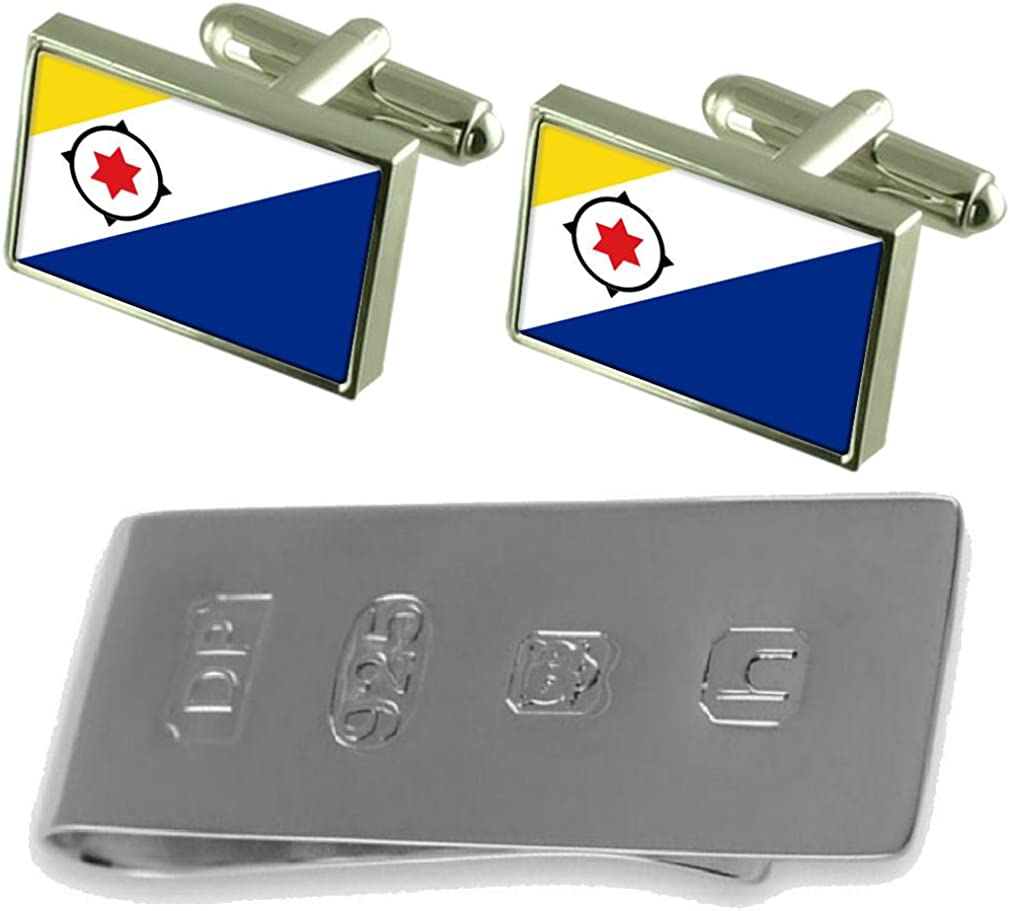 Select Gifts Bonaire Flag Cufflinks /& James Bond Money Clip