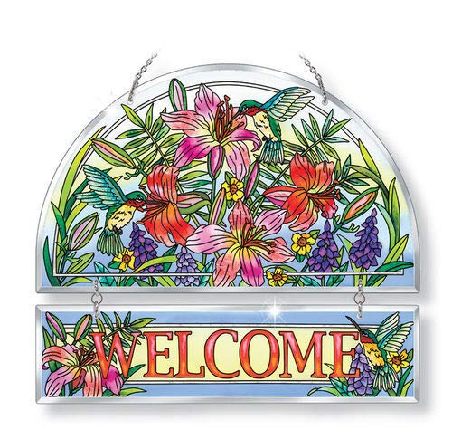 Stained Glass Suncatcher 12'' X 11'' Day Lilies Associates Welcome