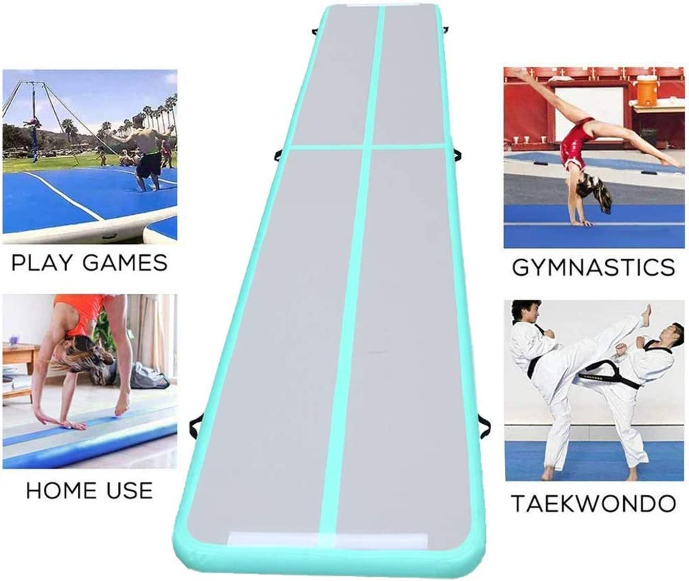 Fitnessandfun 20ft Air Track Tumbling Mat Inflatable Airtrack Gymnastics Air Tumble Track Floor Mat for Gymnastics, Cheerleading, Beach, on Water Incl Air Pump (Green, 6m×1m×0.1m) : Sports & Outdoors