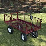 ARKSEN Heavy-Duty Steel Utility Cart with Removable Sides and 12″ Tires with 1400 lb Capacity, Red