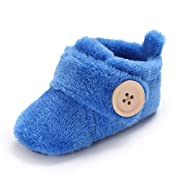 Wollanlily Newborn Baby Girls Boys Slippers Warm Fur Infant Toddler Boots Slip On Booties Shoes (BlueSmall Size 0-6 Months)