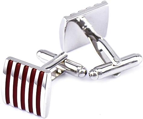 AnazoZ Gemelos para Camisa Cobre Gemelos para Camisa Hombre Cuadrado Rayas Gemelos para Novio Plata Rojo
