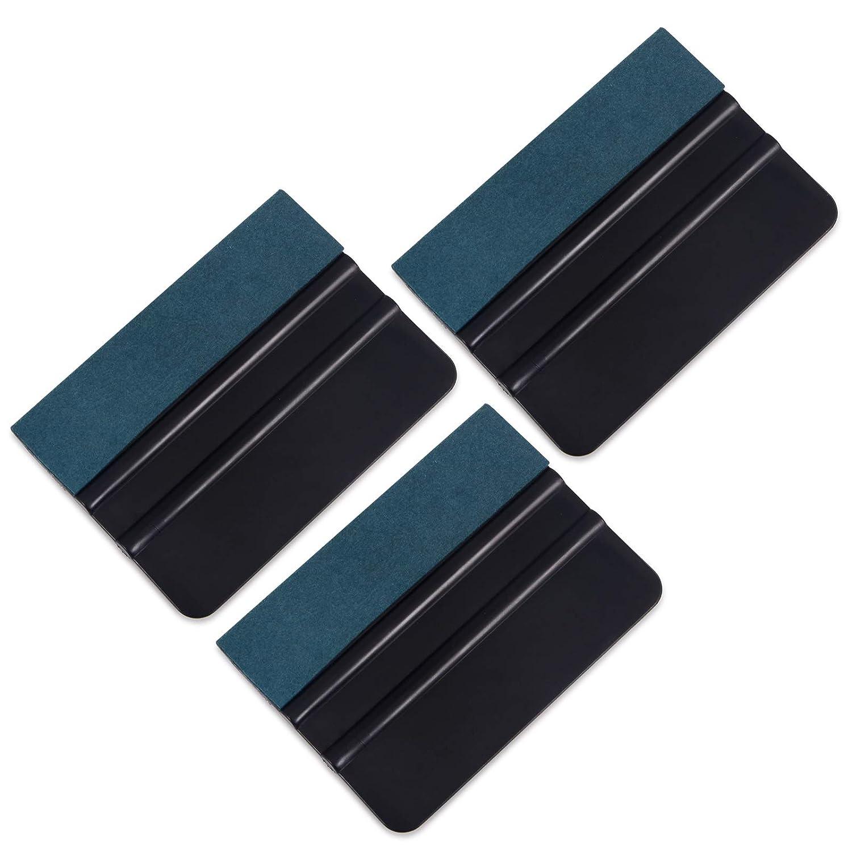 Winjun 3 Stü ck Filzrakel Folienrakel Rakel Set mit Filzkante Wildlederkante zur Verklebung von Folie Autofolie Folierungsfolie Installation Werkzeug, 10cm x 7.5cm, Schwarz