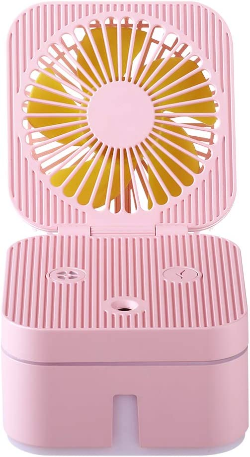 ChampSun 2 in 1Deluxe Mini Portable Spray Fan, Water Spray Humidifier, USB Desk Fan, Quiet Small Fan for Office Bedroom Kids Travel Outdoor-3 Speed Wind 7 Colors Light Changing – Pink