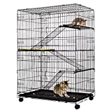 Giantex 4-Tier Cat Playpen Cat Cage with 3 Climbing Ladders & 3 Rest Benches & Cushion (4-Tier)