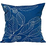 "TangDepot Decorative Handmade Floral Leaf Throw Pillow Covers /Pillow Shams, 10 Sizes option - (22""x22"", Royal Blue)"