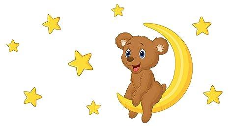 Pegatina de pared cuarto de los niños Lindo oso pardo en una luna ...