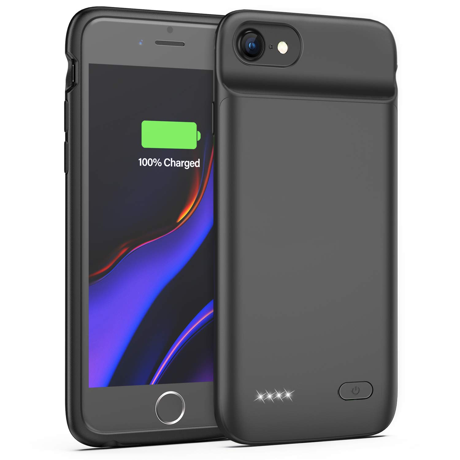 Lonlif Battery Case for iPhone 7/8, 3200mAh Portable Charging Case Protective Slim Extended Battery Pack Charger Case (Black) by Lonlif