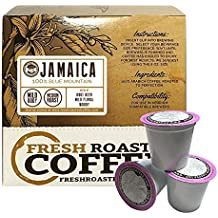 100% Jamaica Blue Mountain Direct Trade Single-Serve Capsules for Keurig K-Cup Brewers, Fresh Roasted Coffee LLC. (18 ct. cups)