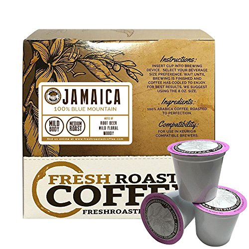 100% Jamaica Blue Mountain Direct Trade Single-Serve Capsules for Keurig K-Cup Brewers, Fresh Roasted Coffee LLC. (18 ct. cups) Blue Mountain Sweet Coffee