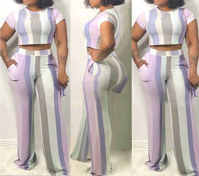 Tbahhir Womens Casual Slim Fit Jumpsuits Colorful Striped Cut Out Long Pants Party Rompers with Tie Front