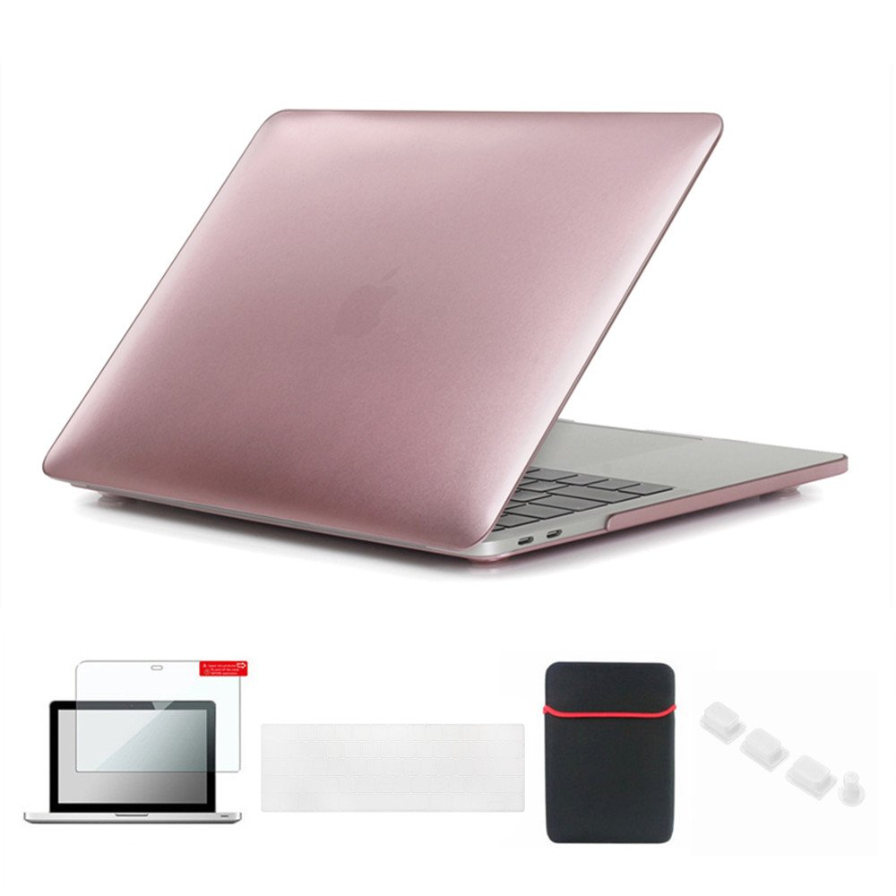 Se7enline 2016-2018 Macbook Pro Case 15 inch A1707/A1990 Soft-Touch Plastic Hard Cover for Macbook Pro 15 with Touch Bar with Sleeve Bag, Keyboard Cover Skin, Screen Protector, Dust plug Set,Rose Gold