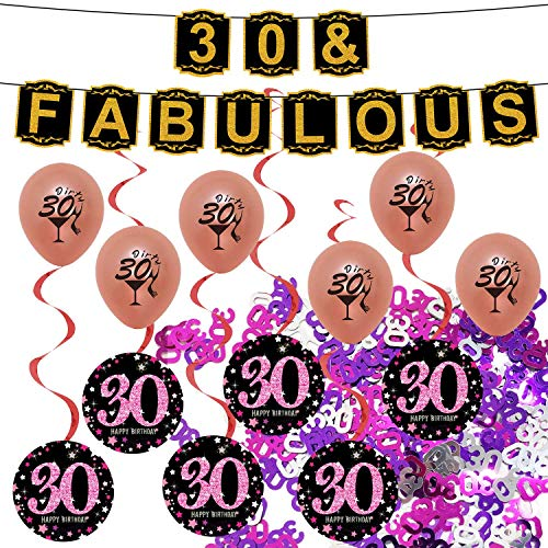 30th Birthday Decorations for Woman Banner Party Supplies Dirty Thirty Balloons Happy 30 Bday]()