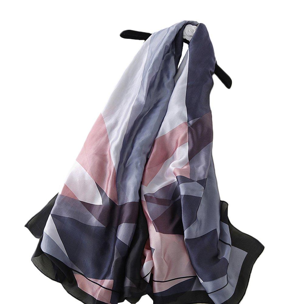 YEX Women Scarves Satin Silk Geometric Pattern Prints Long Lightweight Sunscreen Shawls Scarf for Women 35 x 70 inches (Black, Pink)