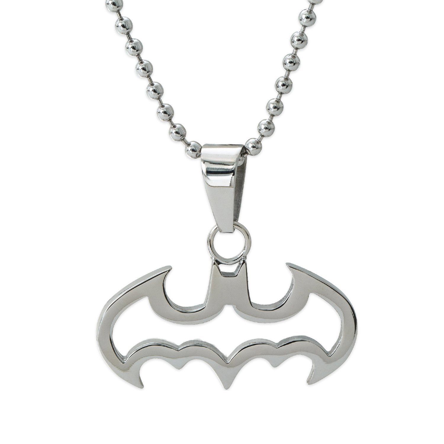 DC Comics Batman Jewelry, Stainless Steel Cut Out Logo Pendant Necklace, 16'' Ball Chain