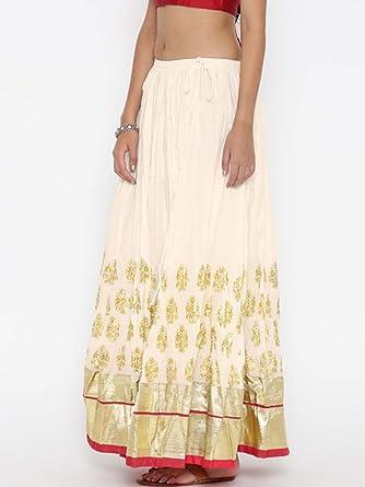 ee0b5277d7 Indian Handicrfats Export Biba Off-White & Golden Printed Maxi Flared Skirt  (Size:
