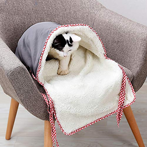 """Price comparison product image Cat Sleeping Bag,  Closed Cat Bed in Winter,  Cat Mat,  Pet Sleeping Bag House - 14.96""""X27.56"""" / Gray / Comfortable,  Washable (Gray)"""