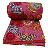 "Kantha Stitch Pink Quilt Cotton Queen Size Decorative Reversible Bedspread Handmade Gudri 104"" X 89"""