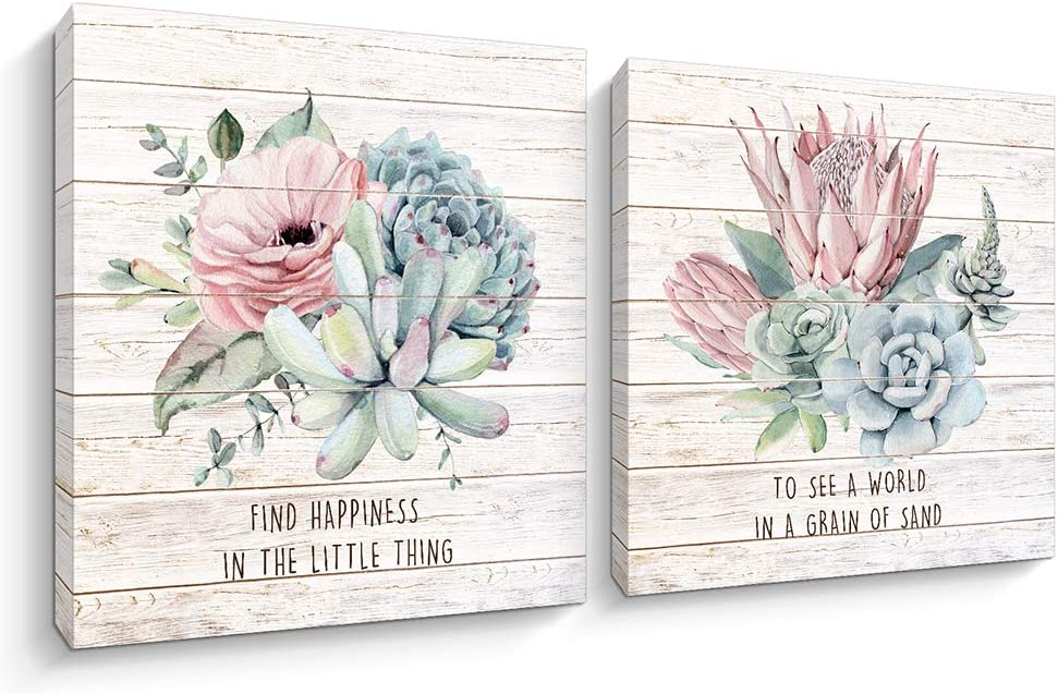 2 Pieces Floral Canvas Wall Art Flowers Blooming Paintings Giclee Print Artwork Pictures for Home Office Wall Decor (12 x 12 inch)