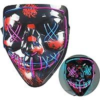 NIWWIN Halloween LED-masker, horrormasker, Halloween-decoratie, kleurenmasker die kan worden verlicht, speciaal…