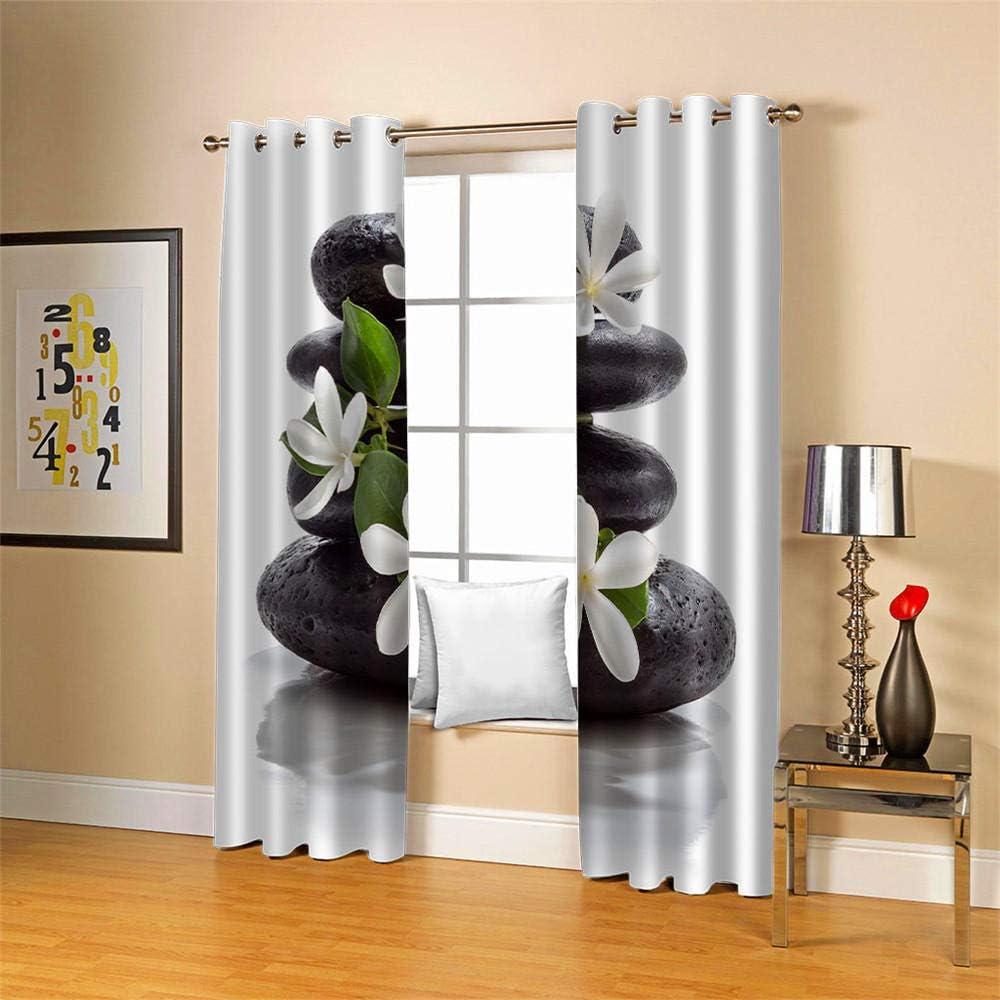 QHDIK Blickdichte Gardine mit /Ösen W/ärmeisoliert Blumen und Steine Bedruckt Gardinen Verdunklungsvorh/änge f/ür Schlafzimmer Wohnzimmer Kinder oder Babyzimmer Windows 2er Set je B75 x H166 cm