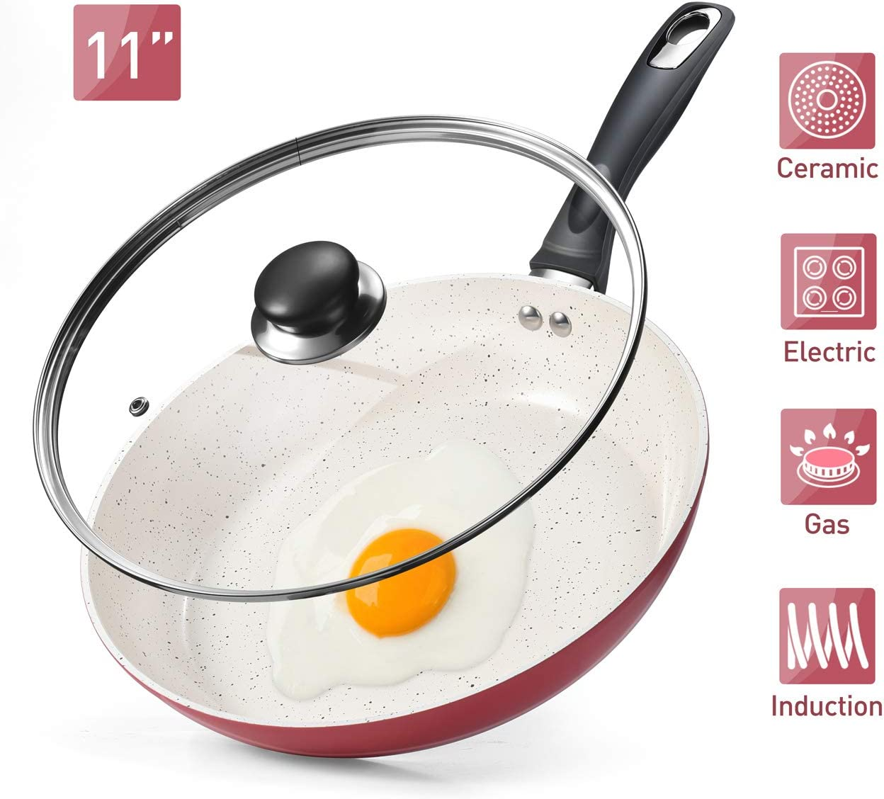 """11"""" White & Pink Ceramic Frying Pan with lid, Exquisitely Nonstick Fry Pan with Heat Insulation Handle, 100% APEO & PFOA-Free Ceramic Non-Stick Coating, Skillet Cookware, Ideal for Family"""