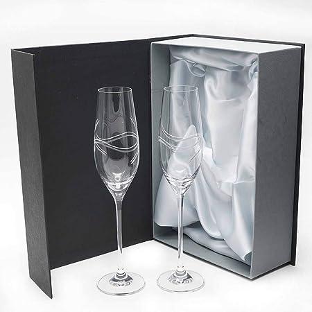 la galaica | Juego de 2 Copas para Champagne o Champán de Cristal Cava y Espumoso + Estuche Presentación con Tela Raso | Regalo para Novios 50 Aniversario - Bodas de Oro | Colección Celebration: Amazon.es: Hogar