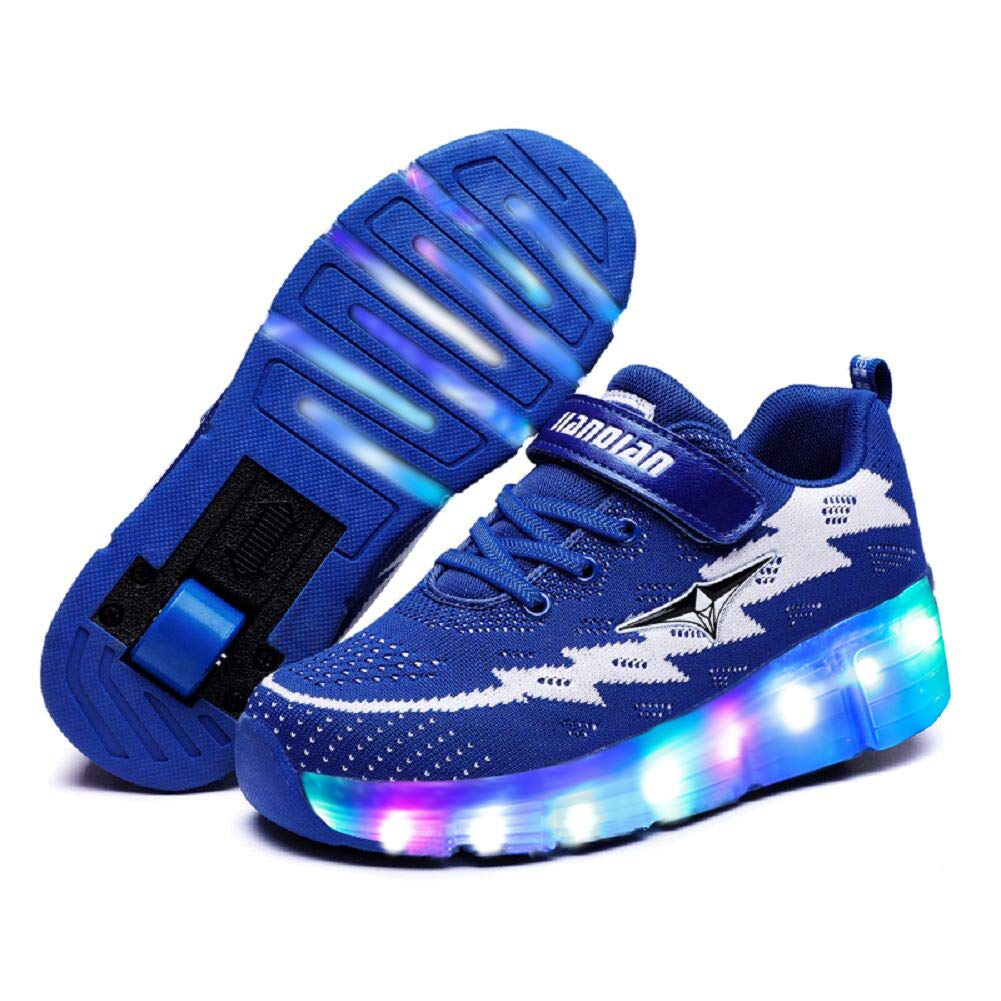 Ufatansy LED Shoes USB Charging Flashing Sneakers Light Up Roller Shoes Skates Sneakers with Wheels for Kids Girls Boys(1 M US =CN32, Single Wheel, Blue)