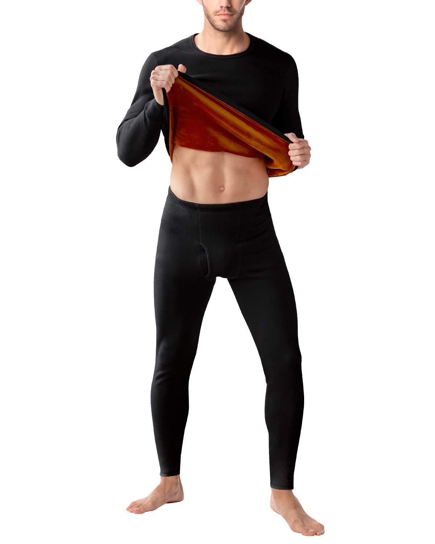 LAPASA Men's Ultra Heavyweight Thermal Underwear Double Layer Long John Set Fleece Lined Base Layer Top and Bottom M63 (Small, Ultra Heavyweight Black) by LAPASA