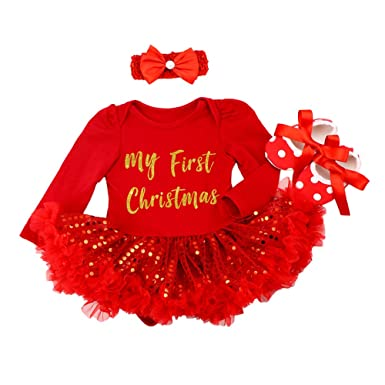 Christmas Tutu Outfits.Iwemek Baby Girls 1st Christmas Tutu Outfits Costume Toddlers Xmas Romper Dress Crown Headband Shoes Infant Holiday Winter 3pcs Clothes Suit Dress Up