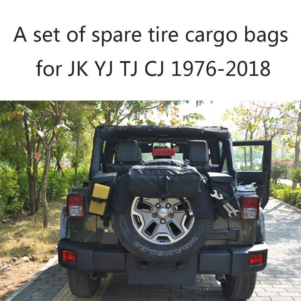 Jeep Wrangler Spare Tire Backpack by Bosmutus | Tailgate Saddlebag Cargo Organizer 1976-2018 JK YJ TJ FJ Luchi