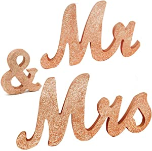 "Awtlife 30"" x 6"" Gold Rose Glitter Mr and Mrs Letters for Vintage Wedding Decoration Table Decor Vintage Style Wooden Mr & Mrs Letters Table"