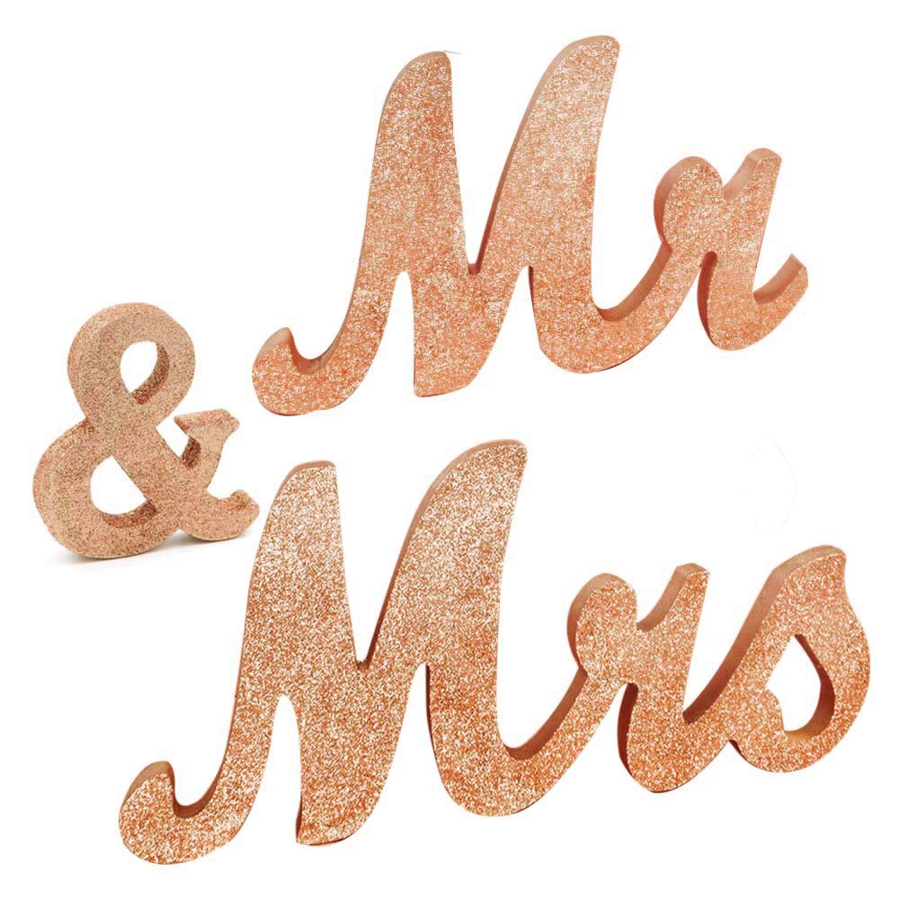 Awtlife 30'' x 6'' Gold Rose Glitter Mr and Mrs Letters for Vintage Wedding Decoration Table Decor Vintage Style Wooden Mr & Mrs Letters Table