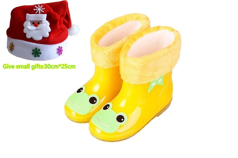 Stillshine - Niños Niñas Botas de nieve de lluvia Zapatos de goma de dibujos animados para niños Impermeable Antideslizante Tacones bajos Botas de lluvia con forro cepillado extraíble para niños (24, Azul)