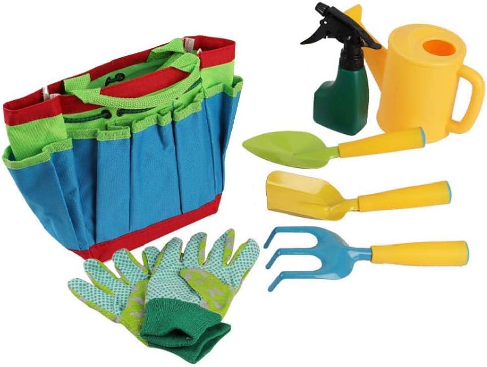 Wakerda Kids Gardening Tools Home Garden Beach Toys Multi Purpose Gardening Tool Bagfor Kids Gardening Gloves Watering Can and Tote Bag 7 Pcs