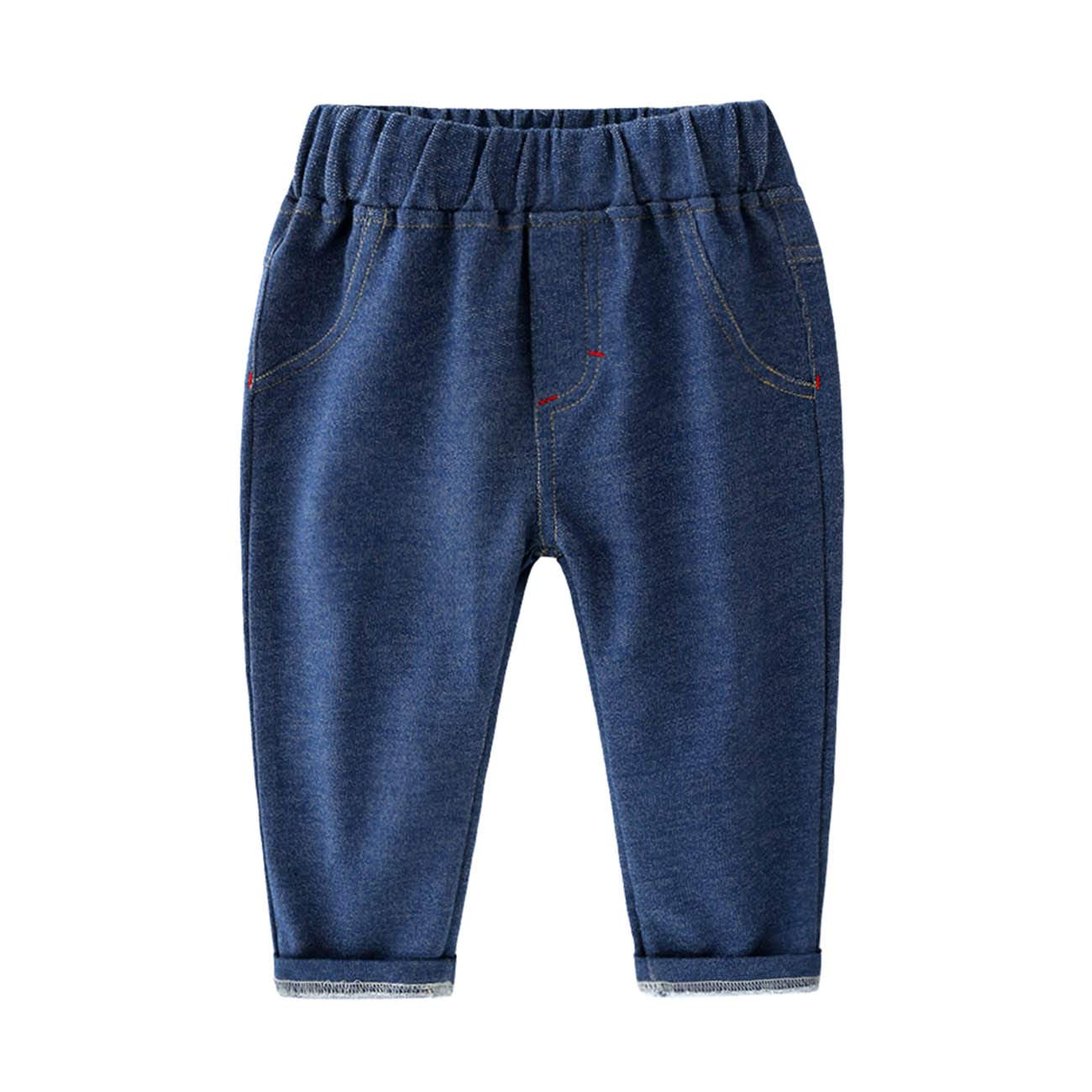 FCQNY Kids Baby Little Boys Clothes Elastic Waist Denim Solid Casual Pants Jeans