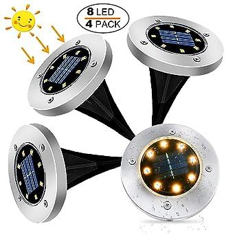 Luces Solares para Exterior Jardin 8 leds, 4Pcs 100LM Luz Cálida IP65 Focos led Exterior