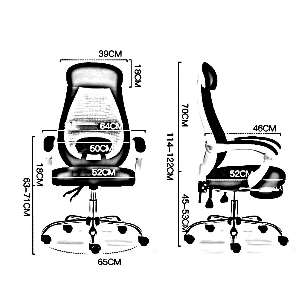 ZZHF Swivel stol, datorstol hushåll lyftstol ergonomisk svängbar stol vilande kontorsstol lyftstolar, ryggstödstol (färg: Svart) White-with Foot Support
