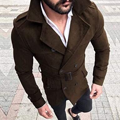 8709800e3081 EJZO Mens Pea Coat Warm Wool Blend Double Breasted Dress Jacket Peacoat  Outwear Tops (Coffee