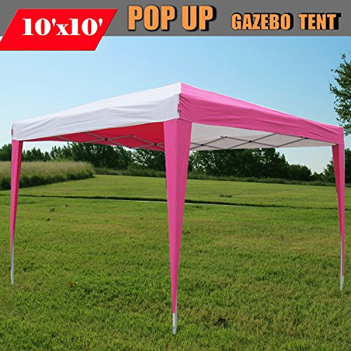 10'x10' Pop Up Canopy Party Tent Instant Gazebo EZ CS N - Pink/White - By DELTA Canopies