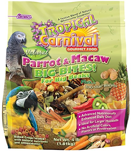 Browns Tropical Carnival Natural (F.M. Brown's Tropical Carnival Natural Parrot, Cockatoo, and Macaw Food for Big Beaks with Fruits, Veggies, Nuts, and Grains, Vitamin-Nutrient Fortified Daily Diet, 4lb)