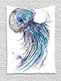 Ambesonne Jellyfish Wall Hanging Tapestry, Aqua Colors Artsy Ocean Animal Print Sketch Style Creative Sea Maritime Theme, Bedroom Living Room Dorm Decor, 60 W x 80 L inches, Blue Purple White