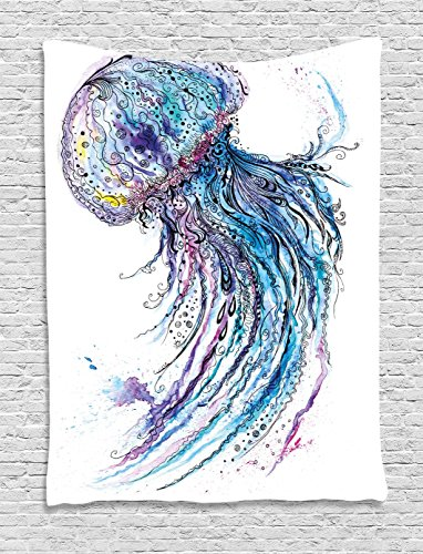 Ambesonne Jellyfish Wall Hanging Tapestry, Aqua Colors Artsy Ocean Animal Print Sketch Style Creative Sea Maritime Theme, Bedroom Living Room Dorm Decor, 60 W x 80 L inches, Blue Purple White by Ambesonne