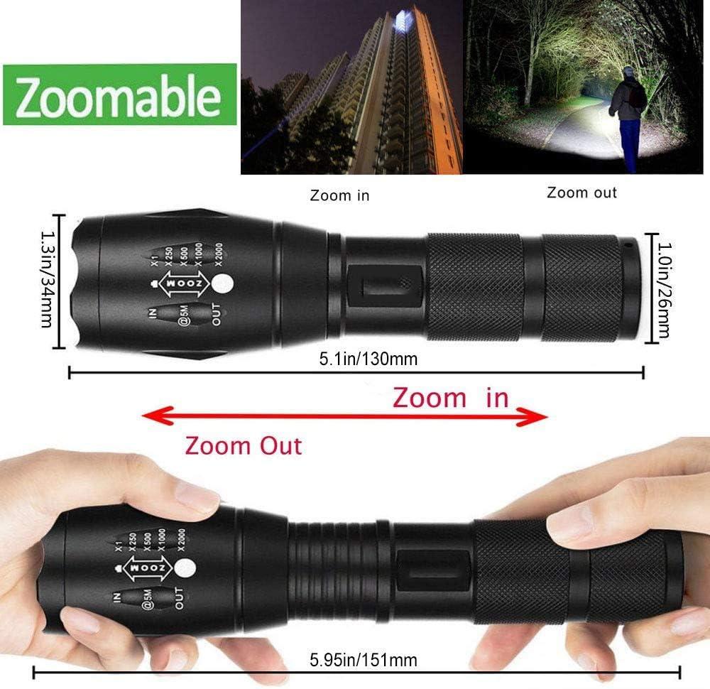 tragbar Camping 1 Packung taktische XML-T6-LED-Taschenlampe 5 Lichtmodi f/ür Innen- und Au/ßenbereiche IP65-wasserdicht Notfall Ultrahelle Taschenlampen Wandern zoombarer einstellbarer Fokus