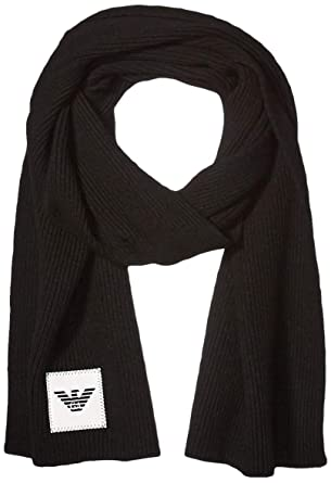 qualità eccellente più tardi vendita calda Emporio Armani sciarpa lana uomo nero: Amazon.it: Abbigliamento