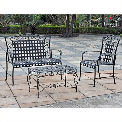 International Caravan Scroll Wrought Iron Settee Group